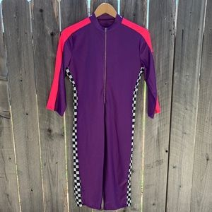 Purple Track Suit with Checkered side size M